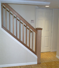 Renovated basement staircase in North Tonawanda