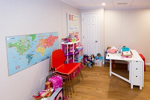 Children's playroom installed in a Rochester basement