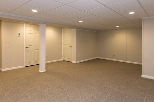 Finished and remodeled basement